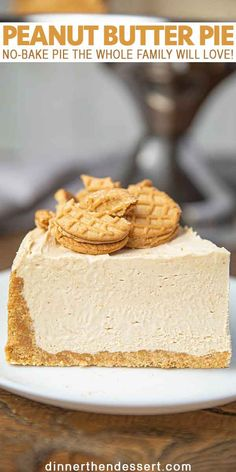 Peanut Butter Pie (w/ Nutter Butter Crust!) – Dinner, then Dessert Peanut Butter Pie is an easy no-bake pie with nutter butter crust and fluffy whipped peanut butter and cream cheese filling your whole family will LOVE! Tiramisu Dessert, Pie Dessert, Dinner Dessert, Peanut Butter Cheesecake, Cheesecake Recipes, Cheesecake Bites, Peanutbutter Pie No Bake, No Bake Pies, No Bake Cake