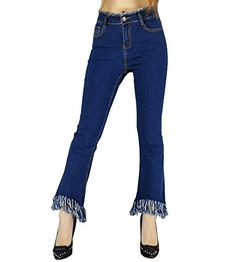 New Trending Denim: YSJ Womens Tassels Bell Bottom Fitted Denim Jeans Flared Stretch Pants (6, Jeans Blue). YSJ Women's Tassels Bell Bottom Fitted Denim Jeans Flared Stretch Pants (6, Jeans Blue)  Special Offer: $28.99  311 Reviews Made with stretchy demin fabric to make sure you're comfortable yet stylish. If you want to find a pair of classy fitted jeans you could wear to work...