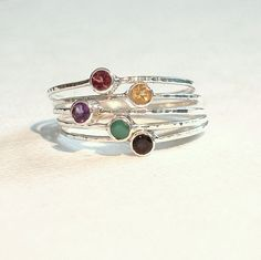 Choose Stones for a Set of Five Threads of Silver - Tiny Delicate Hammered Band Stack Rings with Faceted Stones - Delicate Birthstone Rings
