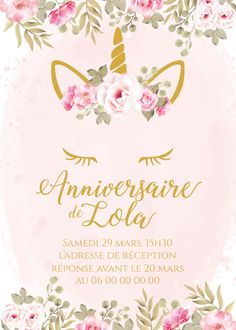 Carton d'anniversaire à personnaliser thème licorne, format 15x21cm, Me contacter en mp pour une impression  Envoyez moi par email les informations à inscrire. Email, Invitation, Marseille France, Etsy, Impression, Birthday, Tableware, Design, Wedding Stationery
