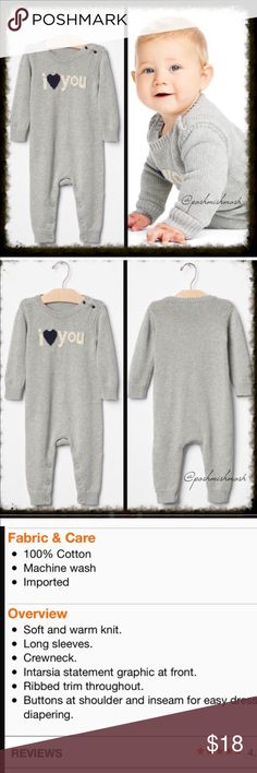 Baby Gap I Love You Sweater Romper NWT Baby Gap I Love You Sweater Romper. See photo for description. Size 18-24 months. I'm happy to bundle items from this closet and my women's closet @poshmishmosh.  Gap One Pieces Bodysuits