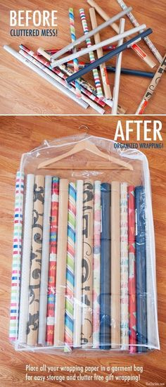 Wrapping Paper Storage. Store your gift wrap rolls with garment bag! Super easy and creative way ti keep all the gift wraps organized and easy to access!