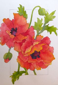 The Painted Prism: WATERCOLOR WORKSHOP: Painting Red Poppies. (watercolor painting can be so much fun-especially wet into wet)