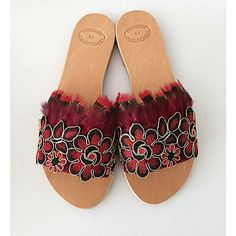 Slip On Sandals Aurora Slides Sandals Strappy Boho Sandals, Red Sandals, Strappy Sandals, Slide Sandals, Leather Sandals, Leather Slip Ons, Soft Leather, Cute Slippers, Boho Necklace