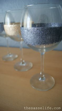Make these wine glasses. | 43 DIY Ways To Add Some Much-Needed Sparkle To Your Life