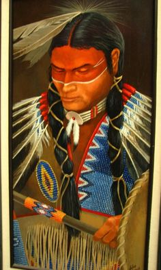Artist: John French - Ross, Texas Title: Kiowa Dancer Medium: Acrylic on Masonite Signed: Lower right Size: Sight: 24 x 12, Frame: 32 x 20