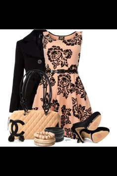 Coral/Black Lace Dress and Accessories