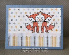 Double Take Fox Twins Card using a tissue paper reversed stamp technique by Anne Gaal of Gaal Creative at http://www.gaalcreative.com - Feel free to re-pin! ♥