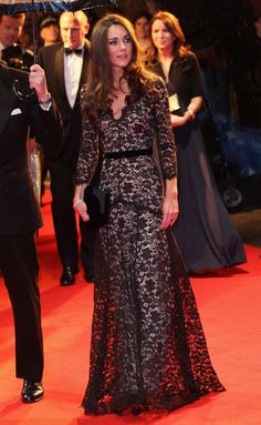 Catherine, Duchess of Cambridge in a lace Alice Temperley gown attends the UK premiere of War Horse at Odeon Leicester Square on January 8, 2012 in London, England.