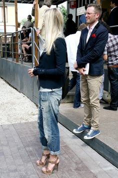 Why not . distressed boyfriend jeans + taupe high-heeled sandals + tailored blazer + the perfect shade of blonde