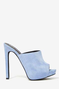 Jeffrey Campbell Robert's Suede Mule - Powder Blue - Heels