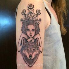 Moon goddess wolf girl #nofilter #moontattoo #wolftattoo #girltattoo #minkasicklinger (at East Side Ink Tattoo)