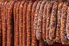 Various types of romanian sausages carnati , smoked and dried, exposed for sale Shall specify for the month of December Hungarian Sausage Recipe, Hungarian Recipes, Homemade Biscuits Recipe, Homemade Sausage Recipes, Chorizo, Romania Food, Tapas, How To Make Sausage, Cheese Party