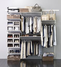Modern closet organization (Elfa Shelving System)