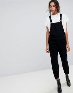 Selected Femme Denim Overalls - Black