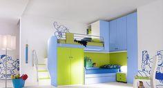 dětské pokoje, dětský nábytek, barevný dětský nábytek, dětské postele, dětský psací stůl