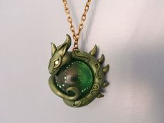 Green Marble Dragon Necklace - polymer clay art by RegnumLaternis.deviantart.com on @DeviantArt