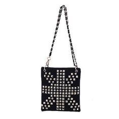Amtal Union Jack Design Bling Cross Body Leather Mesenger Bag - Black #Amtal #MessengerCrossBody