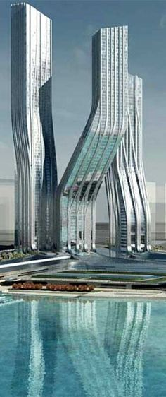 Signature Towers former Dancing Towers,  Dubai designed by Zaha Hadid Architects :: 79, 65, 52 floors, height 350m, 305m, 250m :: on hold  Floors:  79, 65, 52