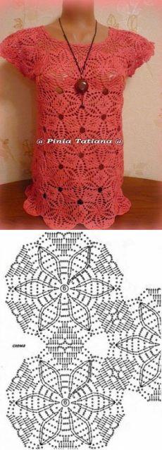 Кофта из элементов. Crochet Granny, Crochet Motif, Irish Crochet, Crochet Flowers, Crochet Lace, Crochet Patterns, Crotchet Dress, Crochet Blouse, Fillet Crochet