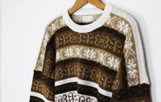 brown and white aztec sweater / vintage by PaintYourWagonShop
