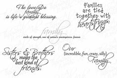 Digital Scrapbook - Family-Themed Word Art .png file Photo Stamps