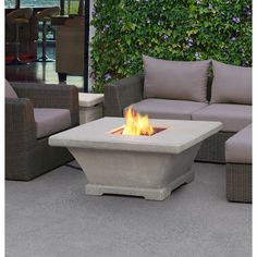 Real Flame Monaco Square Low Profile Propane Fire Pit Table | Wayfair