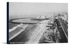 Canvas (Long Beach, California - Rainbow Pier and Ocean Blvd - Vintage Photograph)