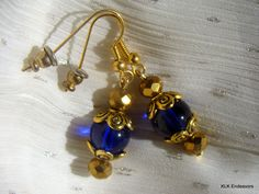 Dark Blue Glass and Gold Plated Disco Ball Dangle Drop Earrings by KLKEndeavors on Etsy Disco Ball, Little Bag, Bead Caps, Gold Beads, Bangle Bracelets, Dark Blue, Plating, Dangles, Drop Earrings