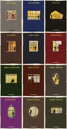 Poster illustrations by Federico Babina of his Archiwindow series.