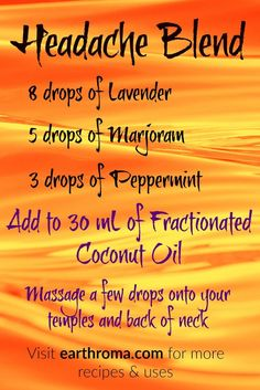 Have a Headache? Try our Headache Essential Oil Blend. 8 drops of Lavender essential oil. 5 drops of Marjoram essential oil. 3 drops of Peppermint essential oil. Add to 30 mL OZ.) of Fractionated Coconut Oil and mix. Massage a few drops onto your templ Marjoram Essential Oil, Essential Oil Uses, Doterra Essential Oils, Young Living Essential Oils, Doterra Blends, Essential Oils For Headaches, Essential Oil Diffuser Blends, Migraine Essential Oil Blend, Doterra Diffuser
