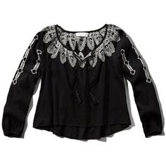 Abercrombie & Fitch Peasant Blouse ($22) ❤ liked on Polyvore featuring tops, blouses, black, abercrombie fitch top, fitted tops, fitted blouse, fitted black top and abercrombie & fitch