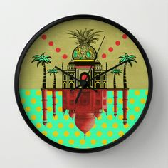 pineapple architecture 2 Wall Clock by AmDuf - $30.00