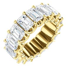 Eternal-Love eternity band in yellow gold. The band in size holds 17 emerald cut matching diamonds eac measuring and together they weigh Diamond are graded as minimum in clarity and minimum H in color Gold Diamond Rings, Gold Bands, Diamond Jewelry, High Jewelry, Cute Jewelry, Jewellery Box, Diamond Cross Necklaces, Anniversary Bands, Engagement Ring Styles