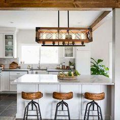 Industrial Pendant Lights, Modern Industrial Decor, Industrial Kitchen Design, Farmhouse Kitchen Lighting, Farmhouse Kitchen Island, Loft Kitchen, Industrial Basement, Farmhouse Pendant Lighting, Cottage Lighting