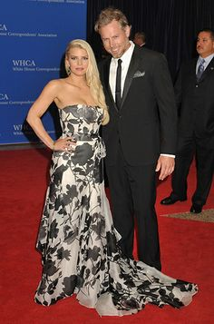 Jessica Simpson wears a black and white Carolina Herrera gown and her fiance Eric Johnson is in Ralph Lauren for the White House Correspondents' Dinner