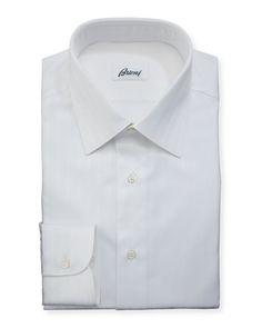 BRIONI Tonal-Stripe Cotton Dress Shirt, White. #brioni #cloth #