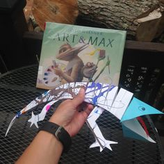 "Summer Camp Projects: ""Art and Max"" paper lizards with drips and drops"
