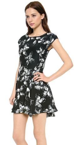 Halston Heritage Cap Sleeve Print Dress | SHOPBOP