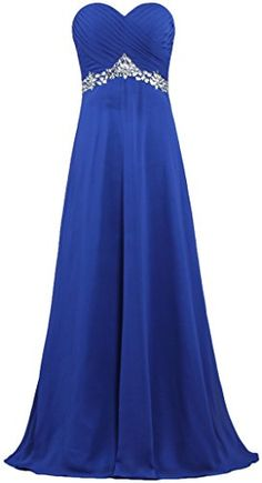 6b5785c06a ANTS Women s Formal Crystal Chiffon Evening Dresses Long Prom Gowns Size 2  US Royal Blue ANTS