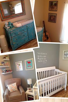 Baby boy nursery - Love this distressed blue dresser - Missy you could totally do this with your old dresser
