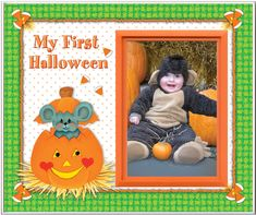 My First Halloween - Picture Frame Gift. Frame measures wide x tall and holds x photo. Frame body is made from polyresin. Graphic design is printed on textured cardstock. Frame has a built-in easel and slot for picture hook. Made in USA. Halloween Picture Frames, Baby Picture Frames, Halloween Pictures, Picture On Wood, Halloween Pumpkins, Halloween Decorations, Halloween Shower Curtain, Pumpkin Photos, My First Halloween