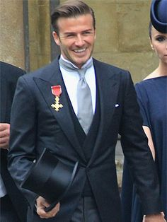 David Beckham Royal Wedding - morning suit with dark vest, grey tie, wing tip collar