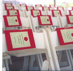 The wedding program along the seats