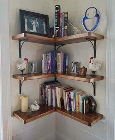 90 Amazing DIY Bookshelf Design To Complement Your Home Decoration 35 Corner Bookshelves, Floating Bookshelves, Bookshelves In Bedroom, Room Shelves, Corner Shelves Living Room, Corner Shelving, Floating Corner Shelves, Corner Storage, Shelves For Books