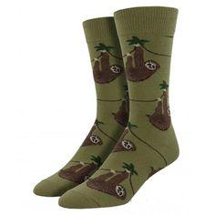 Socksmith Men's Crew Socks Sloth Olive Green Novelty Footwear Fun Foot Apparel #Socksmith #Casual