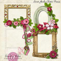 Scrapbookgraphics.com :: Elements :: Mats & Frames :: Secret Garden Cluster Frames