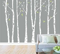 8 Birch Tree Wall Decals with Flying Birds Removable Vinyl Wall Decal Tree Nursery customgift http://www.amazon.ca/dp/B0162ISXW0/ref=cm_sw_r_pi_dp_Cbykwb060RG2A