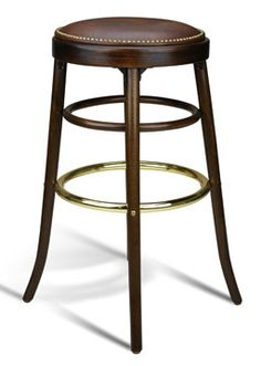 Cafe Wood Bar Stool Stools The Is Comfortable And Looks Great With An Upholstered Seat Outlined Antique Br Nailheads