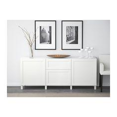 BESTÅ Säilytyskokonaisuus+laatikot - Hanviken valkoinen, liukukisko, pehmeästi sulkeutuva - IKEA